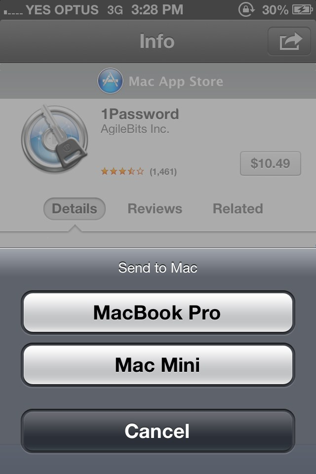 Mock-up of sending a Mac App Store to a Mac